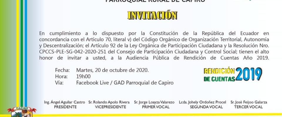 INVITACIÓN A LA RENDICIÓN DE CUENTAS 2019.