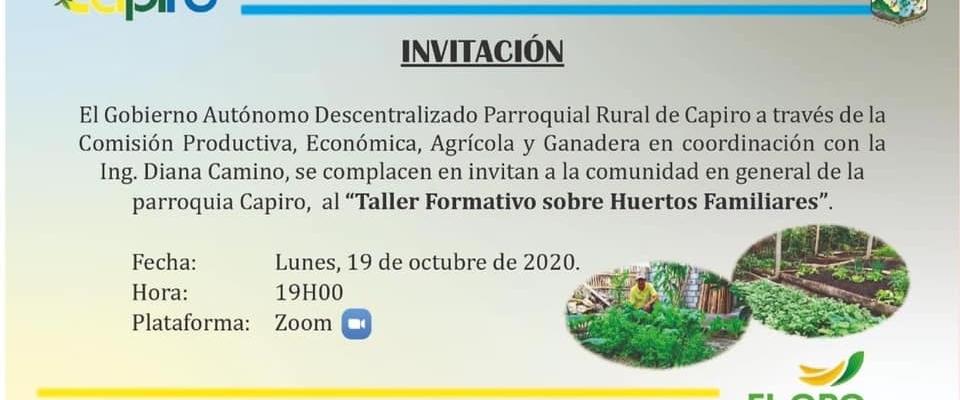 INVITACIÓN AL TALLER FORMATIVO SOBRE HUERTOS FAMILIARES